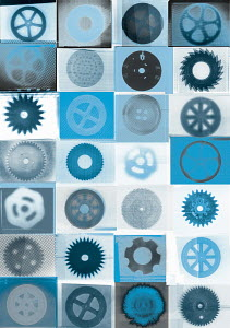 Pattern of various cogs, wheels, saws and other circular objects