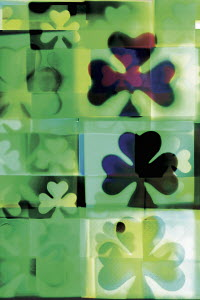 Overlapping four leaf clover