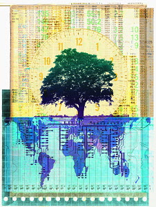 Tree growing in front of clock and stock market listings with circuit board roots over world map