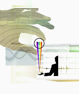 Businessman receiving multicolored spectrum from large hand with computer, blank sheet music and sound waves