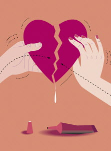 Man and woman gluing torn heart together