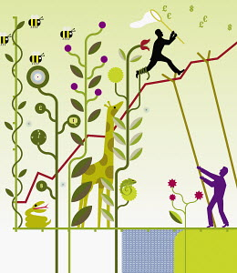 Man supporting line graph through nature with co-worker ascending line