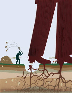 Small businessman cutting roots and freeing big businessman