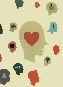 Healthy food, heart and people doing healthy activity inside of people's heads