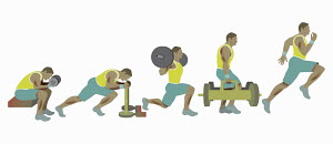 Sequence of man exercising, weight training and running
