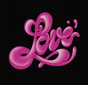 "Stylized cursive word ""love"""