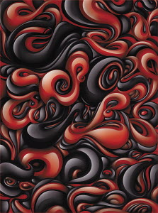 Red and black swirling liquid