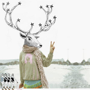 Deer-headed person giving peace sign