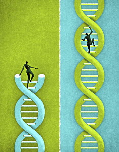 People climbing strands of DNA