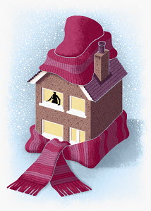 House wrapped up in cap and scarf
