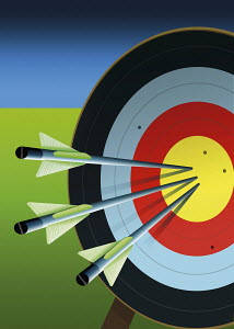 Three arrows in center of target