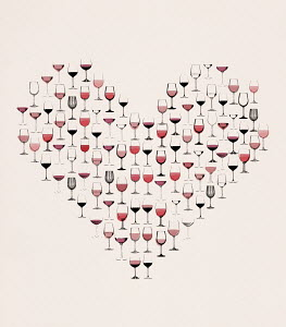 Red wine in glasses forming heart