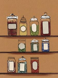 Variety of food in jars on shelves