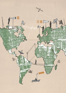 Businessmen on world map using global communications