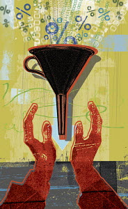 Hands holding funnel filling with percent signs