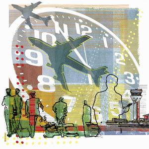 Pilots walking under clock and airplanes at airport