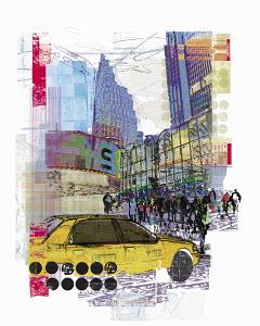 Yellow cab in 45th Street New York