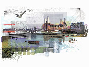 River Thames and Battersea Power Station in London