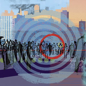 Red and yellow rings on bull�s-eye over people walking in city