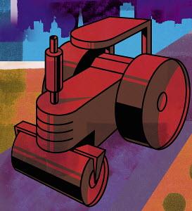 Red steamroller