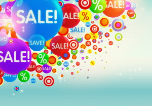 Colorful bubbles with percent signs and �sale� sign