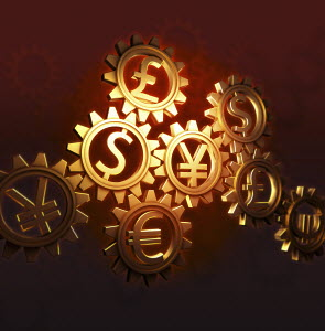 Connected cogs with currency symbols