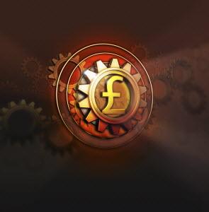 Pound symbol in centre of cog