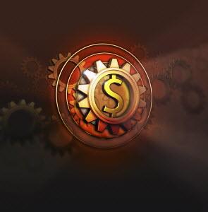 Dollar symbol in centre of cog