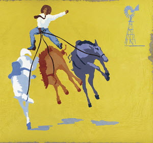 Cowboy riding bucking broncos