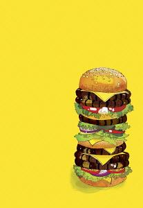 Large, many-layered hamburger