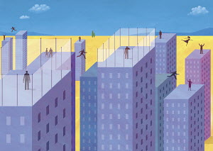 People of highrise rooftops
