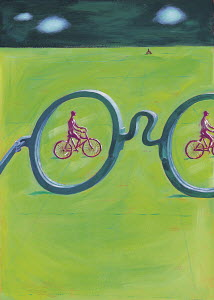 Large glasses and men riding bicycles