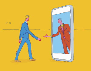 Two businessmen meeting and shaking hands through smart phone technology