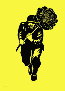 Man running with large rose