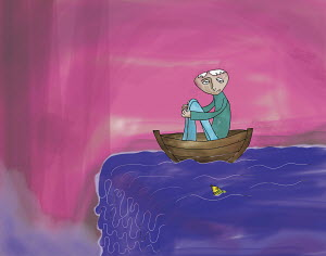 Man in rowboat about to go over waterfall