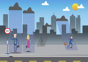 Business people getting rained on in urban setting