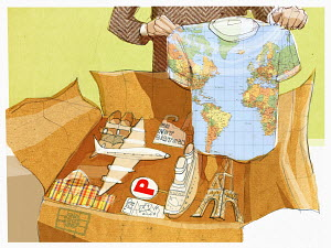 Man packing souvenirs