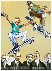 Boys on skateboards