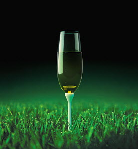 Champagne on golf tee in grass