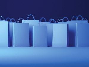 Blue shopping bags