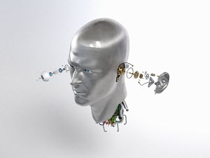 Male robot head with cogs and wires coming out of eye and ear