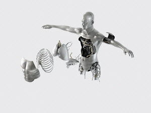 Male robot torso with internal organs and parts coming out