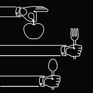 Hands holding cutlery and apple