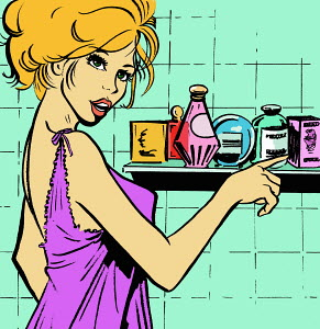 Woman with cosmetics bottles in bathroom