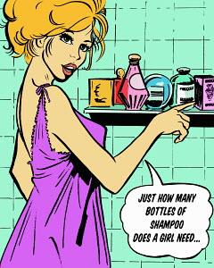 Woman with cosmetics bottles in bathroom talking in speech bubble