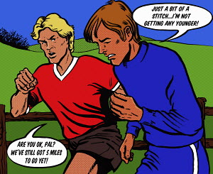 Two men running together and discussing in speech bubbles how one is struggling