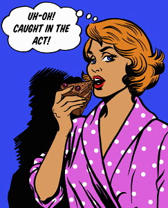 Woman with thought bubble getting caught in the act eating slice of chocolate cake