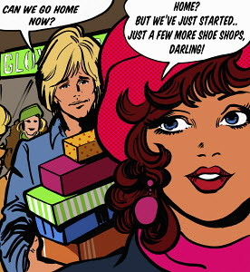 Bored boyfriend carrying shopping and talking to girlfriend in speech bubble about going home