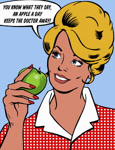 Smiling woman eating healthy green apple