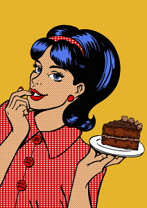 Young woman tempted by slice of chocolate cake